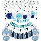 男の子用ネイビーブルー誕生日デコレーションセット ティッシュペーパーポン9個 誕生日バナー フラッグガーランド 30個 パーティーバルーン 15個 パーティータッセル 30個 ペーパー渦巻き装飾ハンギングカットアウト