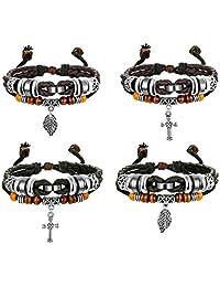 Finrezio 4 PCS Multilayer Brown&Black Leather Bracelets for Men Women Bangle Cross Leaf Cuff Bracelets Set Wristband Jewelry Adjustable