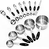 Measuring Cups and Magnetic Measuring Spoons Set, Stainless Steel 5 Cups and 7 Spoons and 1 Levele