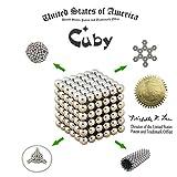 Cuby マジック磁石 教育工具 DIY工具 ネオジム磁石の立体パズル 216個セット﹙5mm﹚ (シルバー)