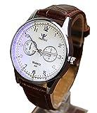 メンズ 腕時計 カジュアルスタイル ブラウン レ ザーレベル 白い文字盤