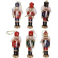 【ノーブランド 品】6本 木製 くるみ割り 人形 12cm 装飾 ドールハウス アクセサリー おとぎ話 おもちゃ 装飾