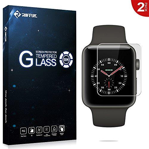 [해외]{Riffue} Apple Watch 3 필름 애플 시계 3 유리 필름 42mm 용 기포 제로 충격 비산 방지 지문 방지 고감도 터치 Apple Watch Series 3 보호 필름 -2 장 넣어 - 투명/{Riffue} Apple Watch 3 Film Apple Watch 3 Glass Film for 42 mm Bubble Zero Sh...