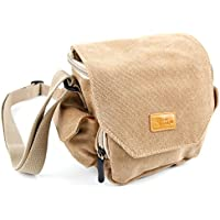 ライトブラウン中サイズキャンバスCarry Bag with複数のポケット&カスタマイズ可能な内部–Fujifilm x-t20カメラとの互換性–by DURAGADGET