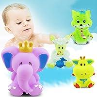 6カウントBaby Bathおもちゃカラフル – Toddlers Bathtubとプールプラッシュスクイーキートイズ、アソートカラー動物 babybathtoy-10