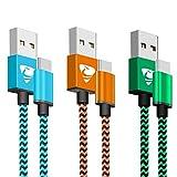 USB Type C ケーブル Rephoenix USB C ケーブル [2m* 3本セット] 高耐久ナイロン編み タイプc ケーブル 高速データ転送 Samsung S8/S8+/S9、LG G5/G6、Huawei P9/P10/ HTC などのType-C機器対応-オレンジ,ブルー,グリーン