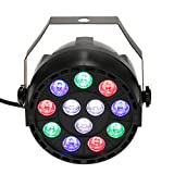 Lixada 12LEDs 15W AC 90-240Vステージライト Par Light RGB(ブルー、レッド、グリーン) DMX512対応 ディスコライト・照明・演出/舞台照明用ライト Disco DJ 1点セット