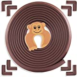 AZAMA Baby Proofing Edge Protector Safety Corner Guards | 6 Meter + 8 Corner + Door Stopper (Extra Large Thick, Brown)