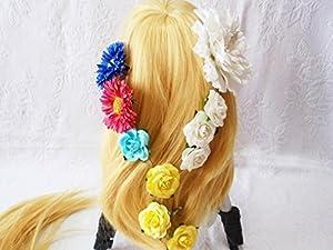 塔の上のラプンツェル 風 ウィッグ セット (ロング 金髪+髪飾り 花 24個+ウィッグネット) コスチューム用小物