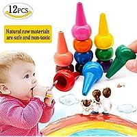 MMTX 幼児用指クレヨン 無毒 12色 ペイントウォッシャブル 簡単手のひらグリップ クレヨンスティック 積み重ね可能 教育玩具 子供用 幼児用 12本セット