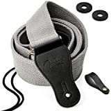 BestSounds Guitar Strap 100% Soft Cotton Genuine Leather Ends Strap with Guitar Locks & Button Headstock Adaptor (Gray)