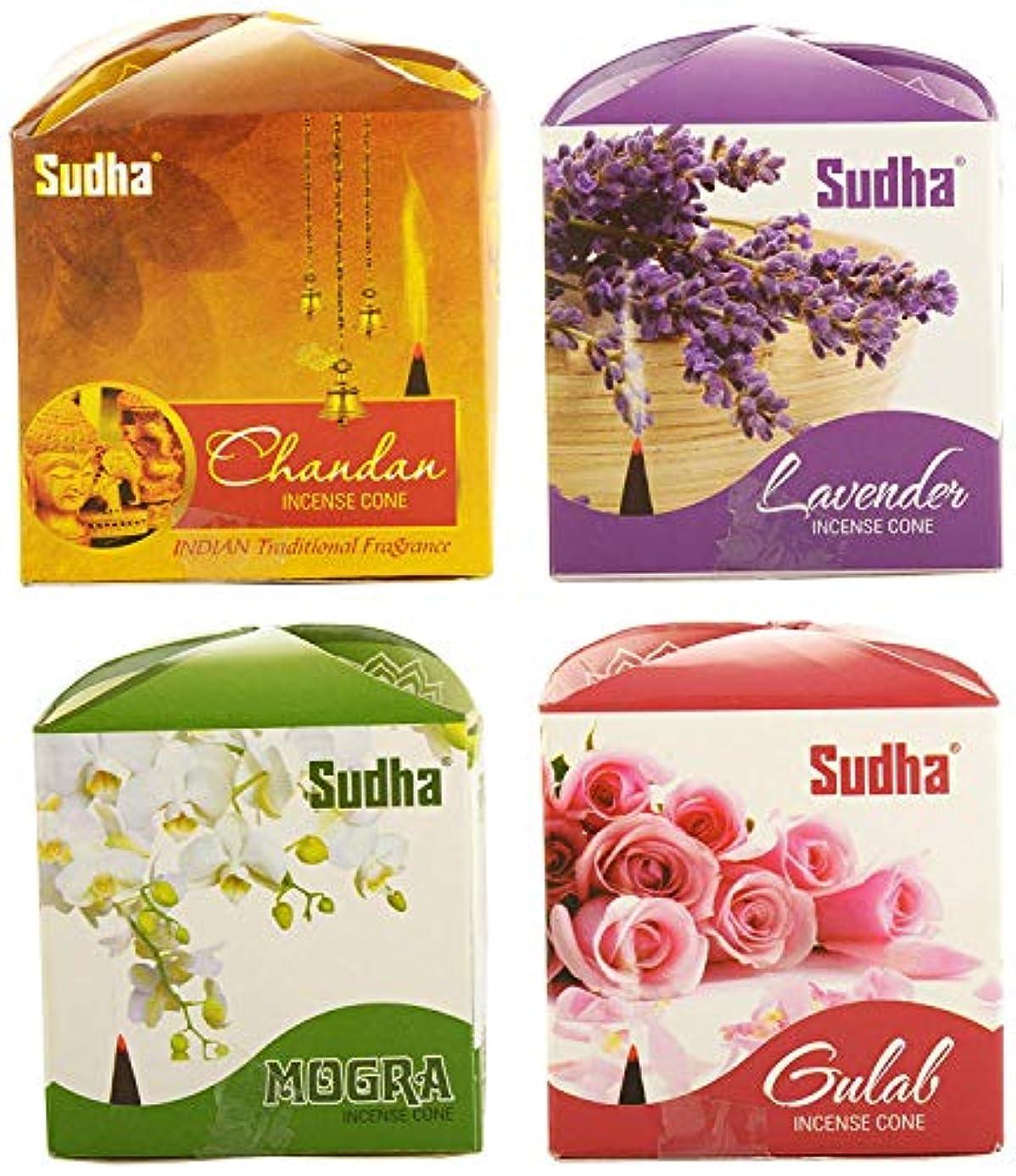 許さない突然頬骨Sudha sugandh Dhoop Cone in 4 Fragrances with 2 Packs of Each Fragrance (12 cm, 30 g, Brown) -Pack of 8