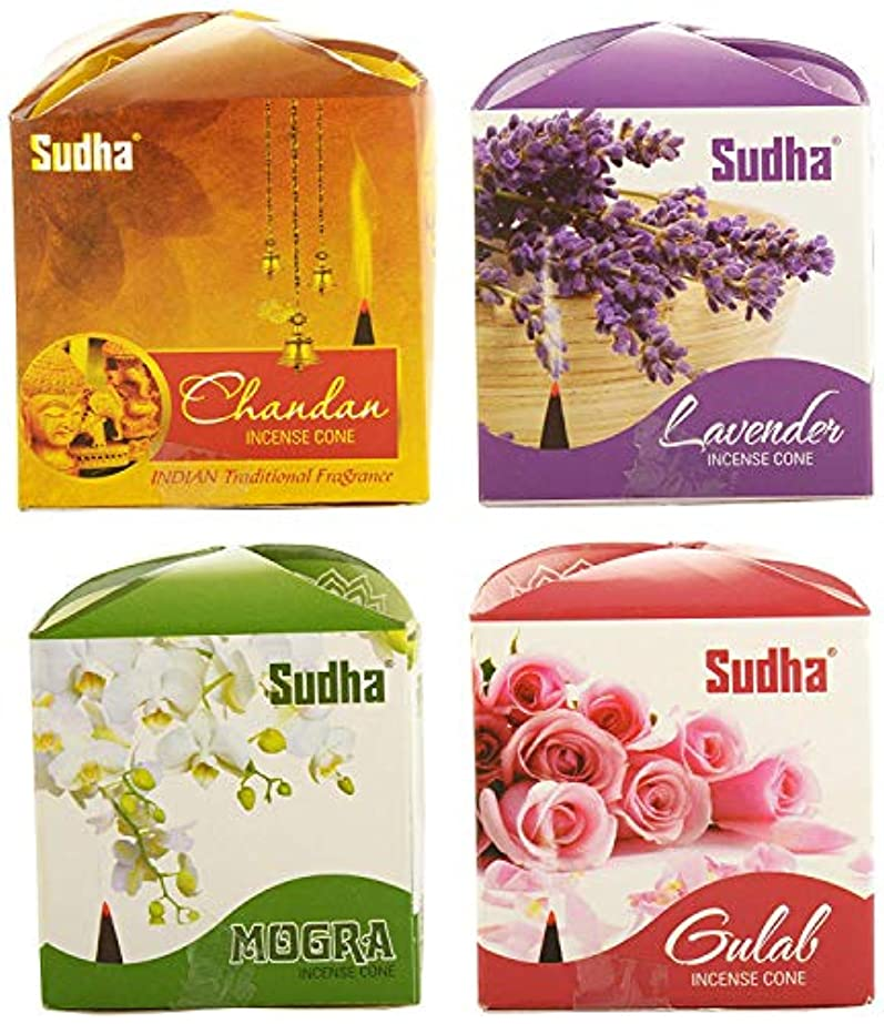 理由拷問乞食Sudha sugandh Dhoop Cone in 4 Fragrances with 2 Packs of Each Fragrance (12 cm, 30 g, Brown) -Pack of 8