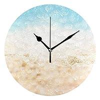 海 砂浜 自然風景 時計 縮尺なし PUV時計 オフィスおよびその他の多くの機会に適しています