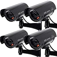 4 PACK Waterproof Dummy Fake Surveillance Security CCTV Dome Camera with Record LED Light Indoor & Outdoor, Black [並行輸入品]