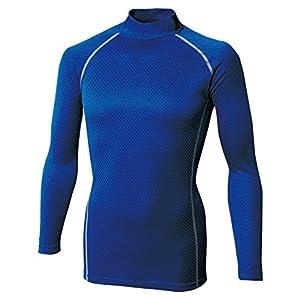 おたふく手袋 ボディータフネス 保温・消臭 長袖 ハイネックシャツ 織柄チェック ストレッチ ブルー M JW-172