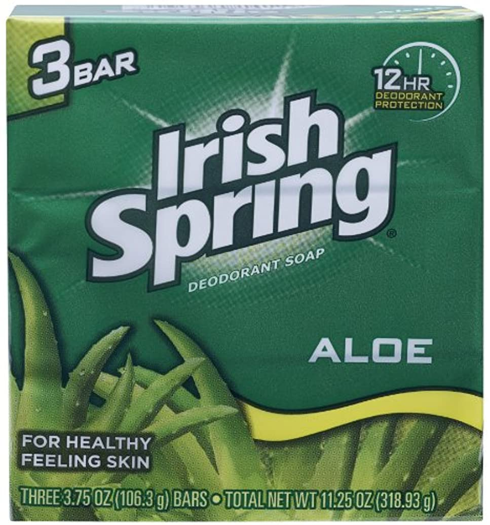 閉じ込めるオプションワインIrish Spring (IRIAL) ユニセックスのためにアロエデオドラントソープすることにより、3カウント