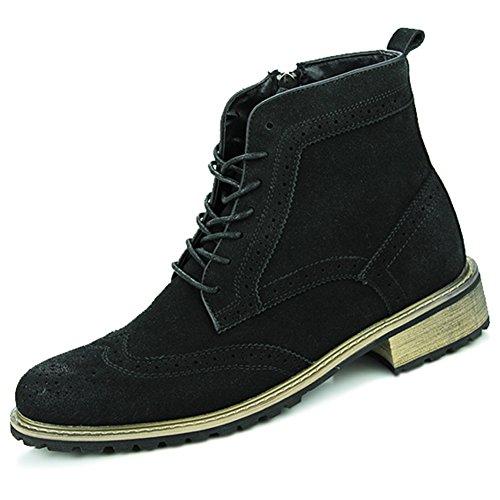 Yaer(ジャール)オックスフォードシューズ ウイングチップブーツ ショートブーツ スエード革靴 ハイカット BrogueShoesスタイル メンズ ブラック 25.0cm