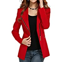 Aro Lora Women's Autumn Slim Fit Bodycon Zipper Suit Coat Jacket Blazer Outwear