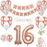 16歳誕生日 飾り付け ローズゴールド happy birthdayバナー 紙吹雪入れ 16アルミバルーン sweet16ケーキトッパー ショルダーストラップ シャンパンカラ 女の子 誕生日パーティーデコレーション