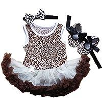 Reborn人形Clothesフィットfor 20 – 23インチRebornベビー新生児Girl Dolls Sleeveless Leopardドレスthree-pieceセット