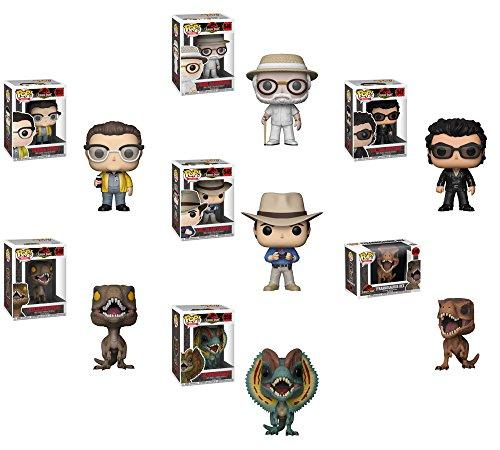 Funko POP Movies Jurassic Park Dr。Alan Grant、ジョン・ハモンド、Dr。Ian Malcolm、デニス・Nerdy T - Rex ,ヴェロキラプトル、dilophsaurus Vinyl Figures Set