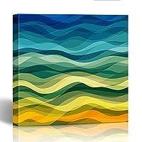 emvencyキャンバスプリント絵画木製フレームブルー水抽象デザイン創造性のイエローと緑波のオーシャンビーチ海12x 12インチ壁アート 16x16 ブラック