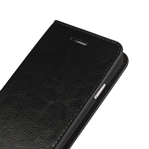 Jisoncase iphone6s ケース iphone6 ケース 手帳型 本革 レザー カバー 財布型 カード収納 スタンド機能 手作り ハンドメイド 防塵 軽量 耐摩擦 耐汚れ 人気 横開き 衝撃吸収 全面保護 スリム (WGLbt-JP2-01610ブラック)