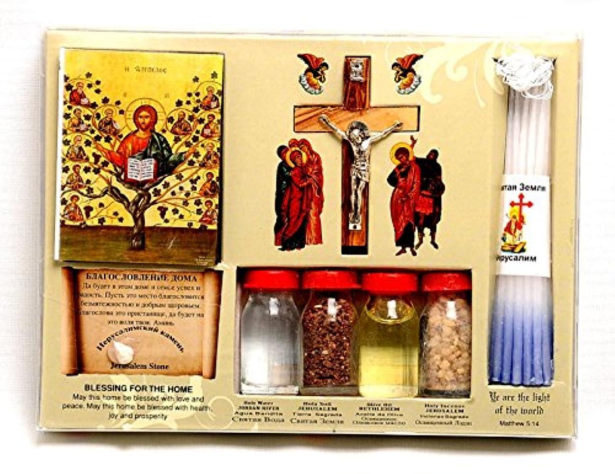 酸っぱい次へバスホーム祝福キットボトル、クロス&キャンドルに聖地エルサレム