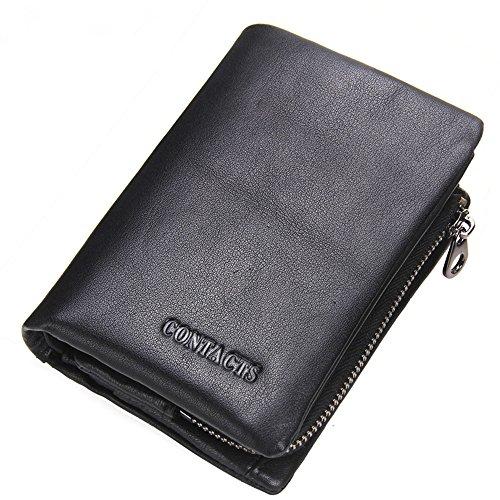 ONSTRO 財布 メンズ 二つ折り 本革 牛革 ファスナー 小銭入れは取り外し可能 カード入れ 収納 コンパクト ブラック