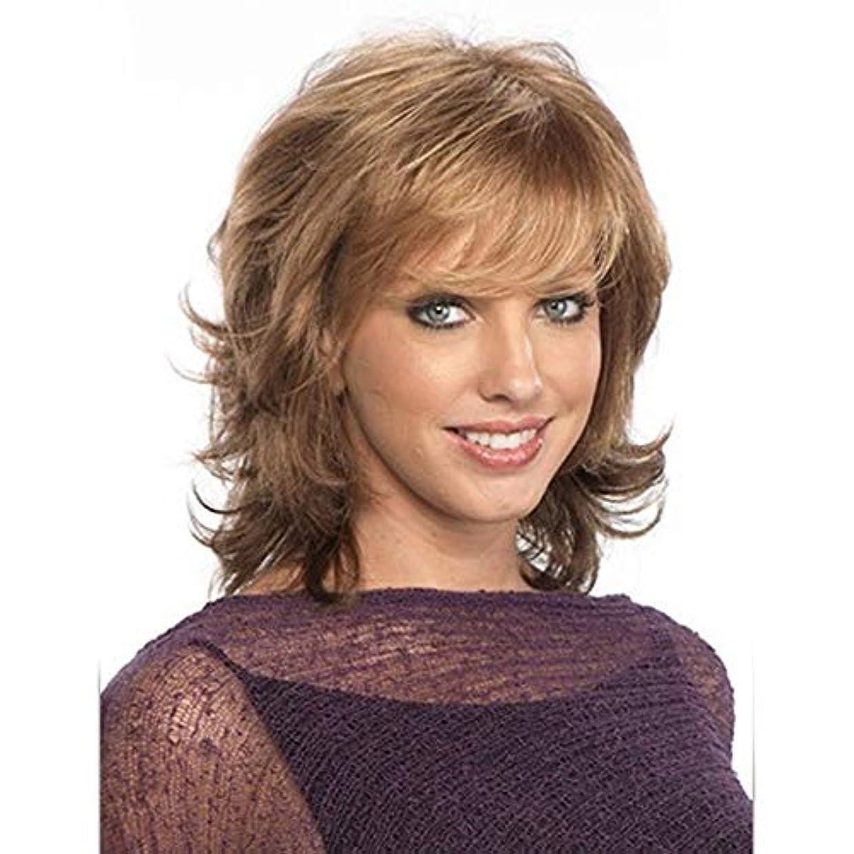 熱帯の上向きタワーYOUQIU 女子ブロンドショートカーリー波状のかつら人工毛フルウィッグ+無料キャップかつら (色 : Blonde)