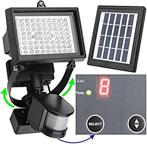 MICROSOLAR ソーラー式センサーライト (80 LED, 6W)  (防雨型) 【 デジタル規定時間】 【1年間の安心保証】