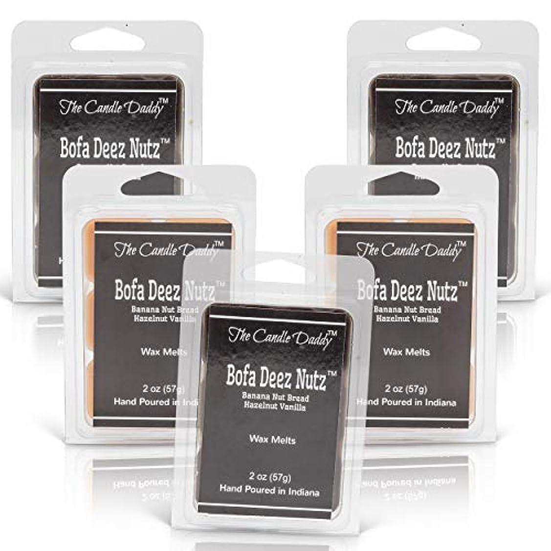 ブラインドイブニングシュートThe Candle Daddy Bofa Deez Nutz バナナナッツブレッド ヘーゼルナッツバニラ 最大香り ワックスキューブ/タルト/メルト- 5パック 合計10オンス キューブ30個