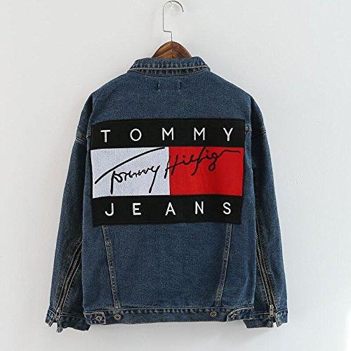 春秋物 tommy jeans ユニセックスパーカー Oversize デニム男女兼用トップス レジャージャケット Tommy hilfiger ジーンズ トミーGジャケット アウター (L)