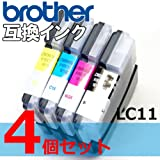 LC11/16-4pk BROTHER 4色セット 互換インク 黒増量タイプ LC11BK/LC11M/LC11C/LC11Y MFC-J950DN,MFC-J950DWN,MFC-935CDN,MFC-935CDWN,MFC-930CDN,MFC-930CDWN,MFC-J855DN,MFC-J855DWN,MFC-J850DN,MFC-J850DWN,MFC-J805D,MFC-J805DW,MFC-J800D,MFC-J800DW,MFC-735CD,MFC-735CDW,MFC-J700D,MFC-J700DW,MFC-695CDN,MFC-695CDWN,MFC-675CD,MFC-675CDW,MFC-670CD,MFC-670CDW,MFC-J615N,MFC-495CN,MFC-490CN,DCP-J715N,DCP-595CN,DCP-535CN,DCP-J515N,DCP-390CN,DCP-385C,DCP-165C