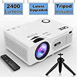 "QKK Projector (Latest Upgraded), 2400Lumens Mini Projector with 176"" Projection Size, 1080P Supported Full HD Video Projector, Compatible with HDMI, VGA, AV, USB for Home Theater, Movie, Video Game, Party, Outdoor activities and More"