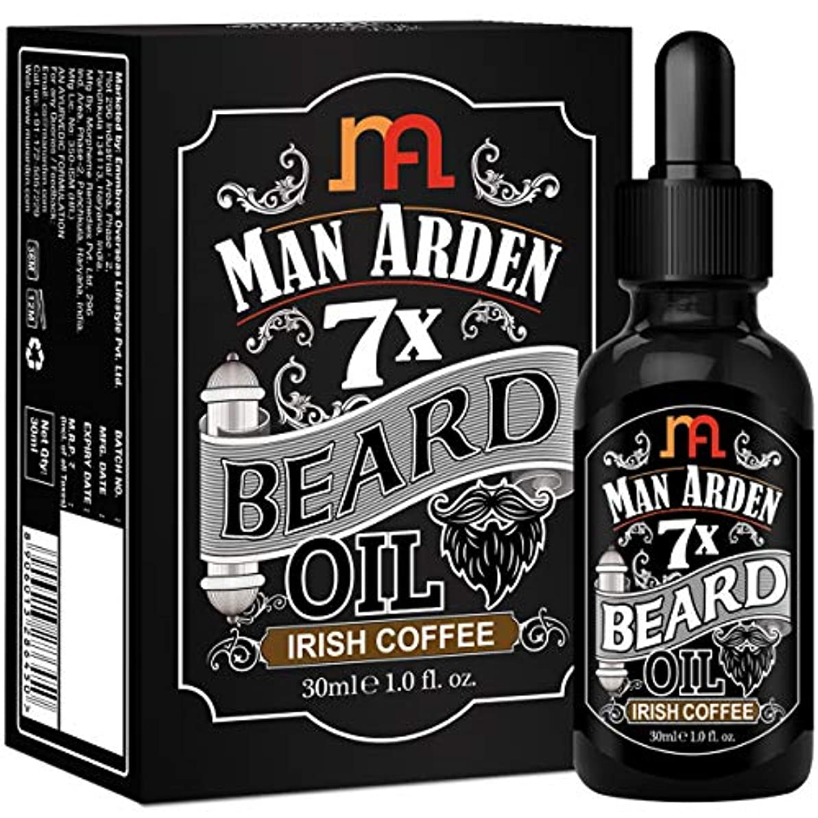 ベスト評判宙返りMan Arden 7X Beard Oil 30ml (Irish Coffee) - 7 Premium Oils For Beard Growth & Nourishment