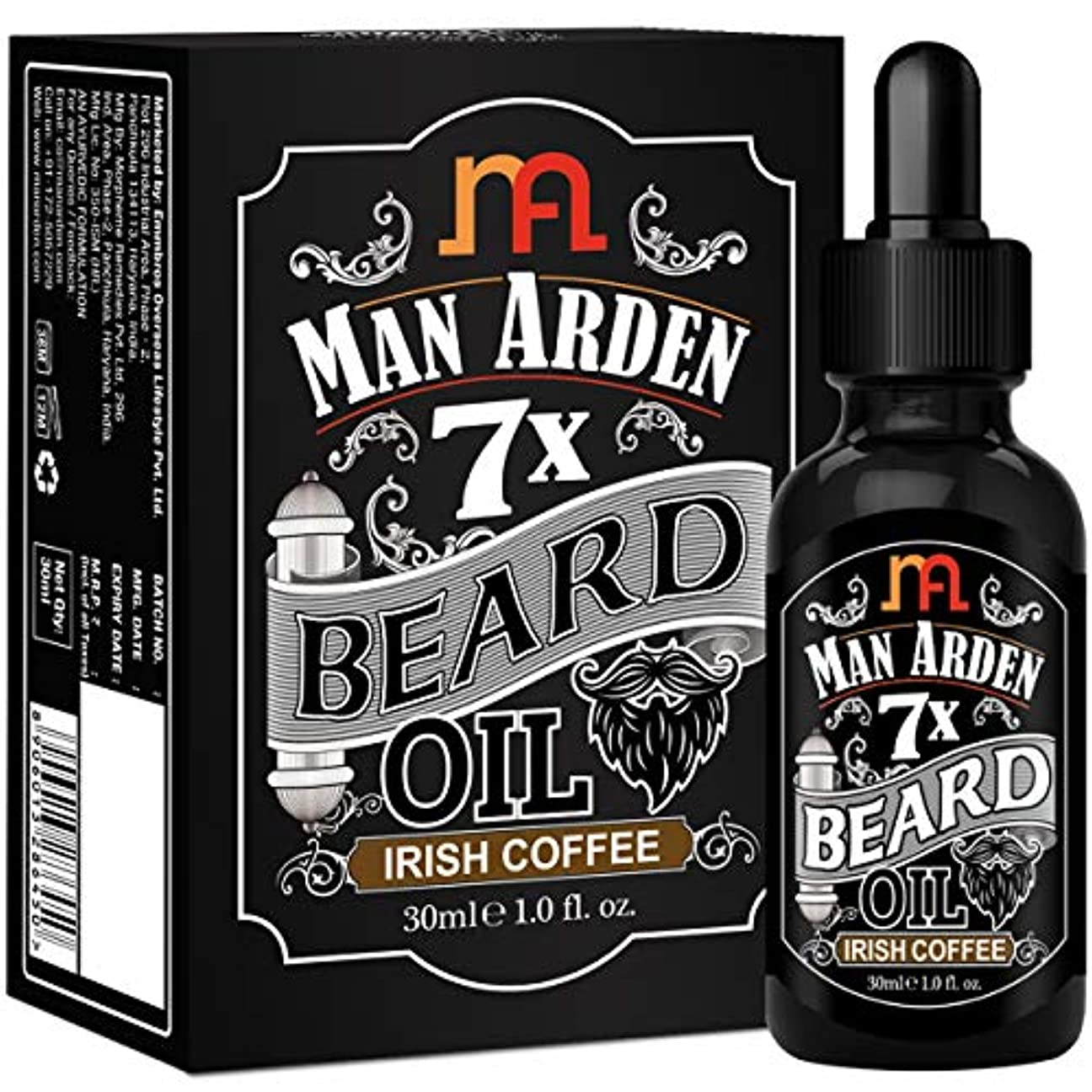 まとめる取り壊すトピックMan Arden 7X Beard Oil 30ml (Irish Coffee) - 7 Premium Oils For Beard Growth & Nourishment