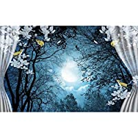 Ljjlm 3Dの壁紙写真の壁紙カスタム壁画のリビングルームの窓木の月明かり3D絵画ソファテレビの背景壁紙の壁3D-280X200CM