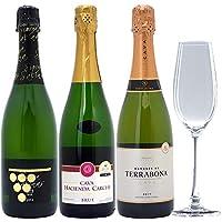 お試しセット!全て本格シャンパン製法 辛口泡3本セット+クリスタルグラス1客((W0CV01SE))(750mlx3本ワイン+グラス1客)