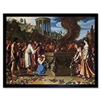 Orestes And Pylades Disputing At The Altar Scene Art Print Framed Poster Wall Decor 12x16 inch シーンポスター壁デコ
