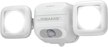 Mr. Beams Mr. Beams MBN3000 NetBright 500 Lumen High Performance Wireless Battery Powered Motion Sensing LED Dual Head Security Spotlight, White, White, MBN3000-WHT-01-00