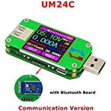 Power Meter, KKmoon USB Digital Power Meter Tester Multimeter Current and Voltage Monitor Color LCD Display Tester Voltage Current Meter Voltmeter Ammeter UM24C Communication Version