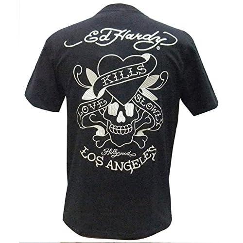 edHardy エドハーディ 半袖 Tシャツ ハートスカル刺繍 52KH05 黒M寸