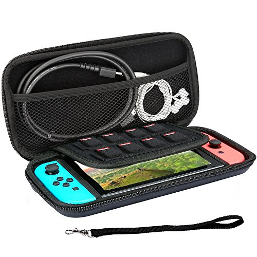 KALDA Nintendo Switchケース,ニンテンドー スイッチ ケース,収納バッグ 全面保護 軽量、防水、防汚 、耐衝撃,8枚カード/ケーブル/イヤホンなど小物収納可(ブラック)