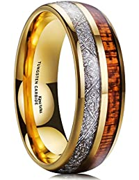King Will Meteor Men Wedding Band Gold Plated Domed Tungsten Ring 8mm Imitated Meteorite Koa Wood Inlay Comfort Fit