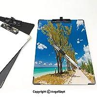 クリップボード アルファベット ビーチ 金属製強力クリップ いくつかの木の見事な画像海岸古代古風な牧歌的なビーチの風景ブルーグリーンクリーム