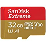 Sandisk Extreme 32GB microSDHC UHS-3 Card - SDSQXAF-032G-GN6MA [Newest Version], Black