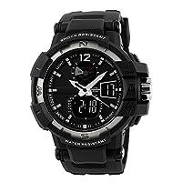 fngeenメンズデュアル時間動き5ATM防水LED腕時計、シルバー