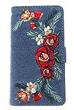 iPhone アイフォン ケース 手帳型 刺繍 カバー ピンク iPhone7 6 Fサイズ/ ブルー